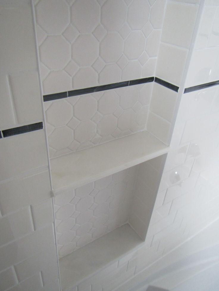 46 best room bathroom images on pinterest shower niche for Bathroom alcove shelves