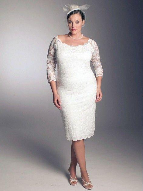 Vestidos de novia para gorditas con encaje y mangas perfectos para el matrimonio civil