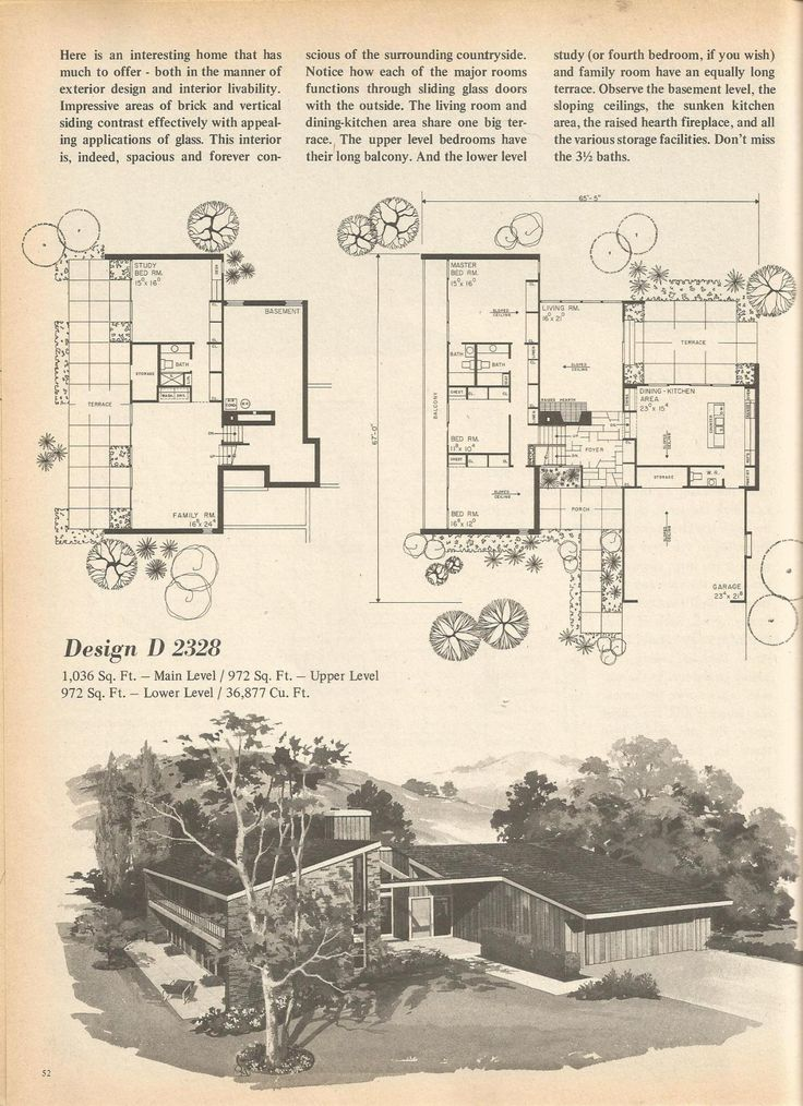 vintage house plans mid century homes 1970s homes - The Redwood House Plans 1960s