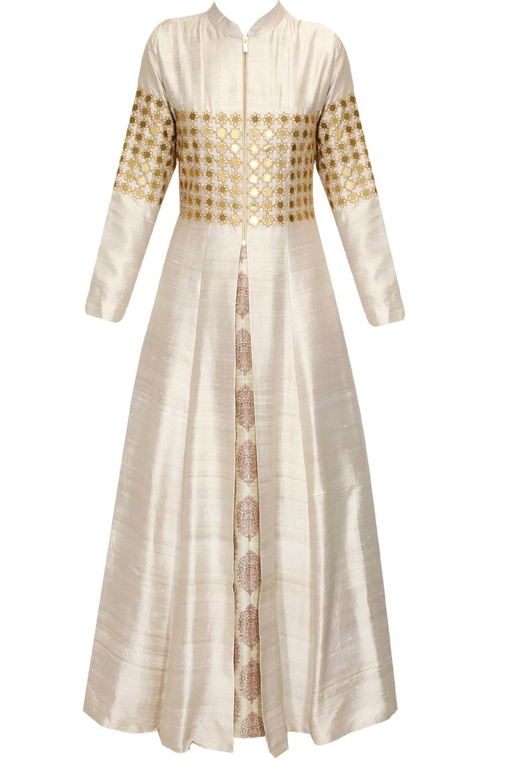 Beige star embroidered jacket kurta with beige inner gown available only at Pernia's Pop Up Shop..#perniaspopupshop #shopnow #happyshopping #designer #newcollection #winterfestive #clothing #SVA