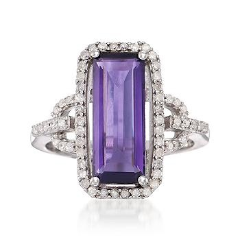 Ross-Simons - 4.00 Carat Amethyst and .30 ct. t.w. Diamond Ring in Sterling Silver - #778633