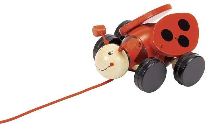 La coccinella è un divertentissimo trainabile, quando lo tiri si muovono le ali. Un gioco da sempre amato dai più piccoli.