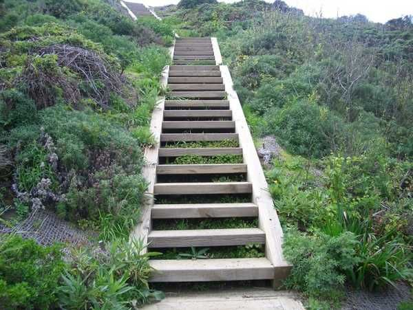 Wooden Outdoor Stairs And Landscaping Steps On Slope Natural