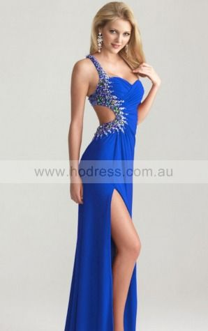 One Shoulder Floor-length Chiffon Natural Backless Evening Dresses gt0486--Hodress