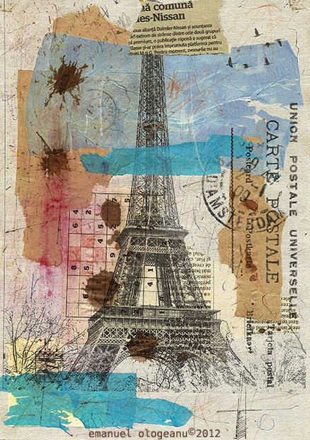 Goog Morning Paris - Eiffel Tower Emanuel Ologeano Limited edition Print of mixed media collage 8x 11. $6.91, via Etsy.