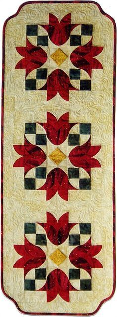 Tulip Bells Table Runner Pattern - Southwind Designs - SWD-404  -  (I ♥ this technique!)