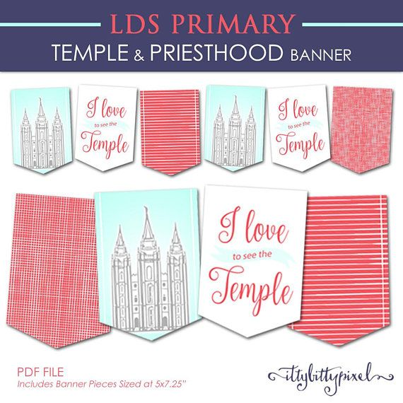 Temple and Priesthood Preparation Banner – LDS Primary 2018 PRINTABLE Pennant Flags Decorations Decor Annual Presentation Meeting Girl Boy