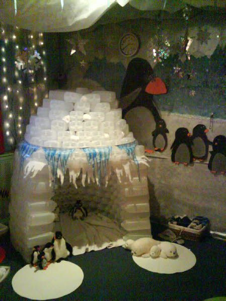 Love this igloo out of plastic milk bottles