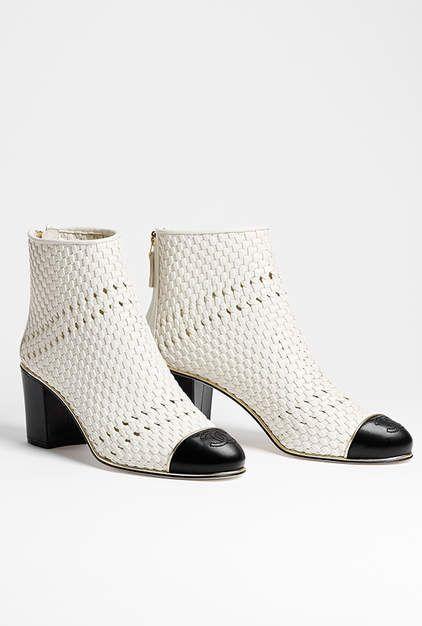 Short boots, braided lambskin-white & black - CHANEL