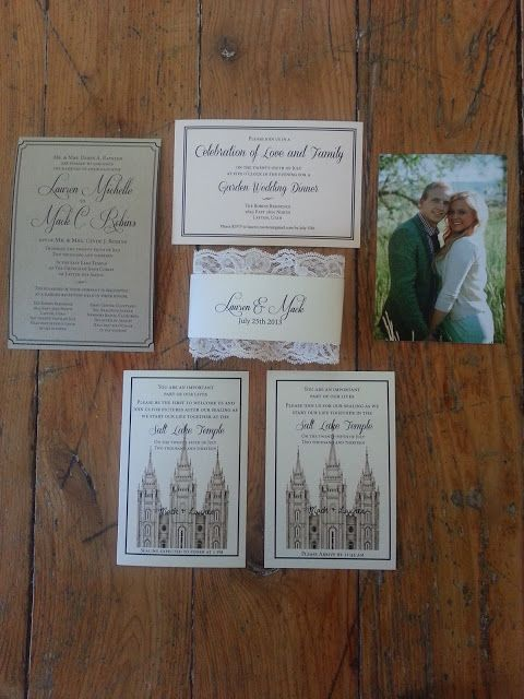 lds wedding invitation set invitation temple sealing invite