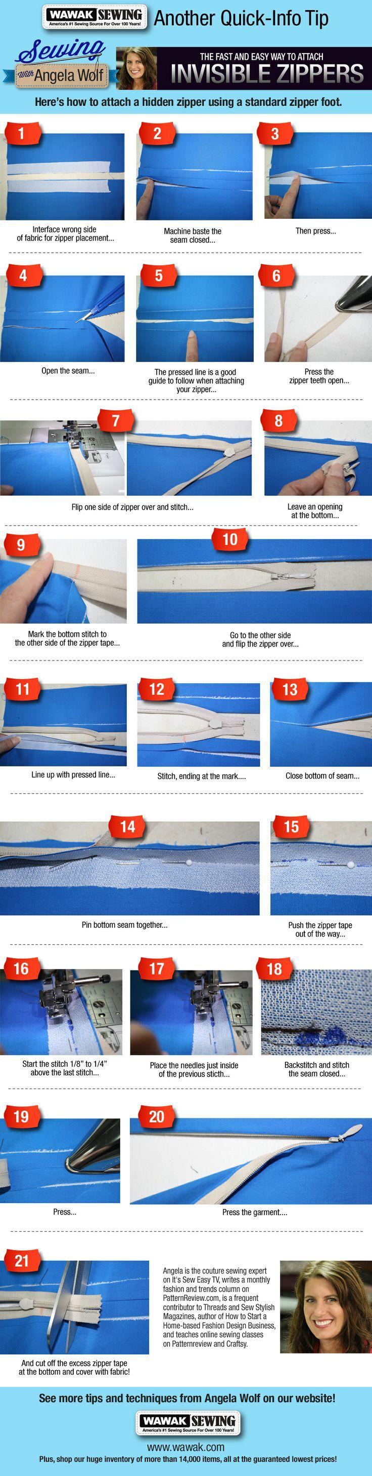 How To Attach A Hidden Zipper With A Standard Zipper Foot | WAWAK Sewing Supplies | Sewing With Angela Wolf