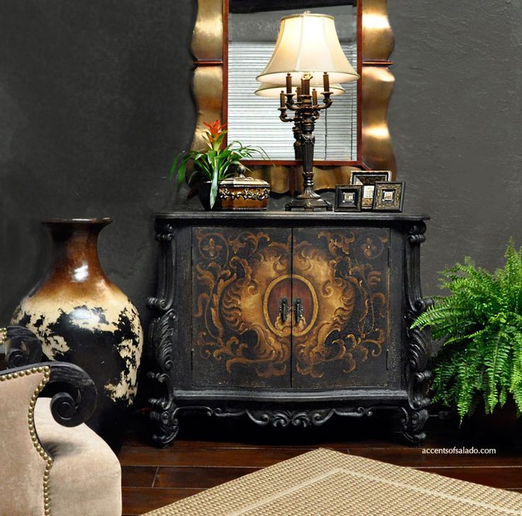 New sahara floor vase st croix hand painted chest for Tuscan dining room wall art