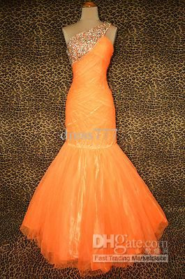 Wholesale NEON ORANGE EVENING PAGEANT PROM FORMAL BALL GALA GOWN DRESS size 4, $117.6-128.8/Piece | DHgate
