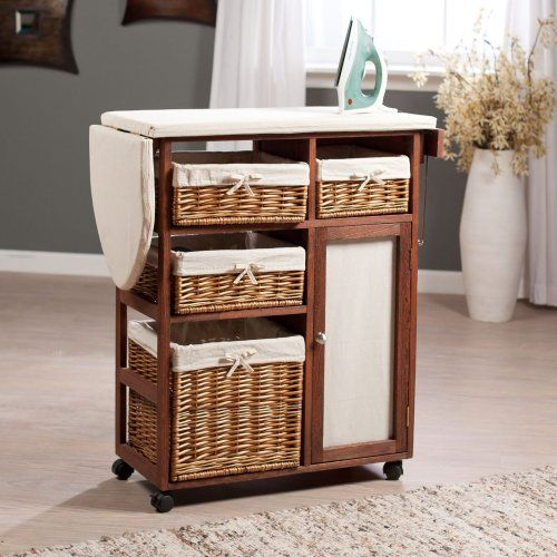 Deluxe Wood Wicker Ironing Board Center with Baskets - Ironing Boards and Accessories at Hayneedle
