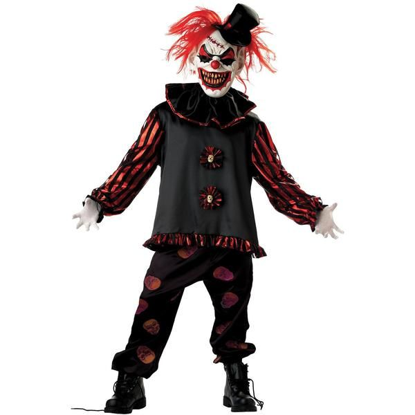 Scared of clowns? You will be! Demented, grinning evil clown costume includes long sleeve shirt, screen printed skull pants, mask with hair, hat, and neck ruffl
