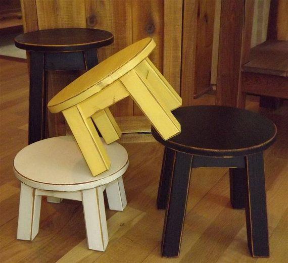 Custom Order Reclaimed Wood Primitive Round Stool Step