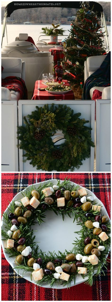 A Christmas Cruise on the S. S. Noel, aka, pontoon boat decorated for Christmas and an easy appetizer, Rosemary Olive Wreath! #boat #lake #Christmas