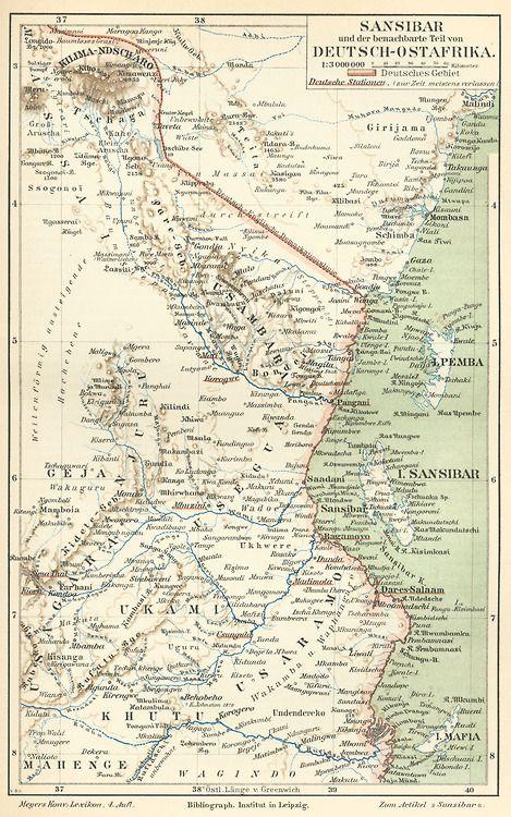German map of Zanzibar and German East Africa c. 1890, with Mount Kilimanjaro