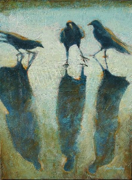 Jean Bradley, The Meeting, 2010. The crows (grackles ?) with long, colorful cast shadows. Very cool