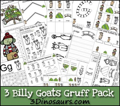 Free 3 Billy Goats Gruff Pack! over 50 pages of activities ages 2 to 8. 3 Dinosaurs #free #printables