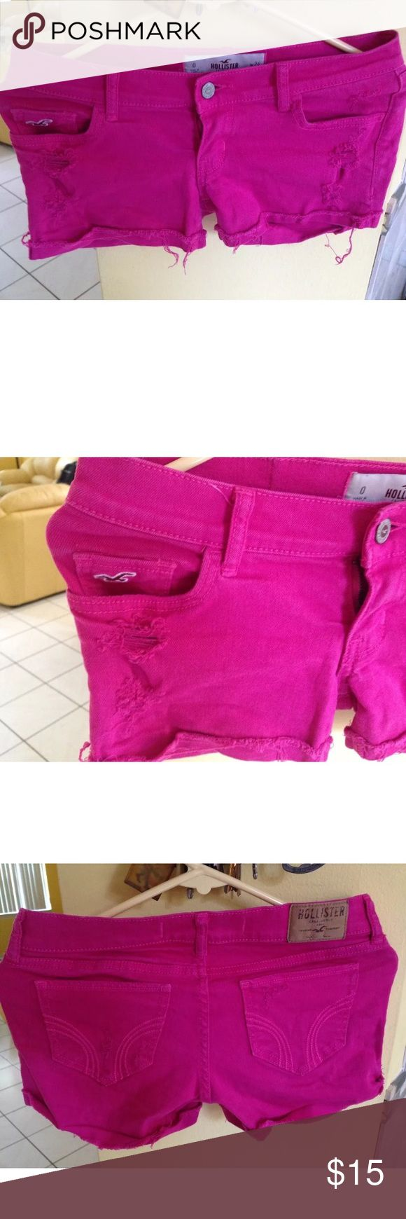 Hollister Denim Daisy Duke distressed shorts This listing for a used Hollister Denim Daisy Duke Shorts, pink,distressed, size 0. Its in excellent used condition. Hollister Shorts Jean Shorts