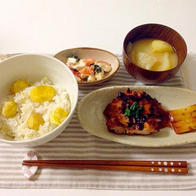 初めて栗ごはん作りました - 17件のもぐもぐ - 栗ごはん・鶏肉のマーマレード炒め・カプレーゼ・お味噌汁(ジャガイモ、キャベツ、玉ねぎ) by Akane♡