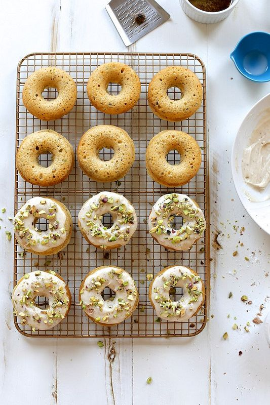 Baked Brown Butter and Pistachio Doughnuts / joy the baker
