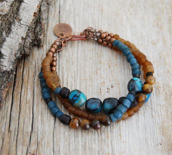 lotus bracelet - yoga jewelry- chrysocolla, tiger's eye. $53,00, via Etsy.