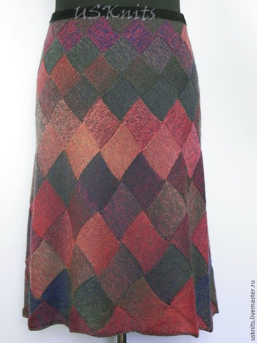 Вязаная юбка из шерсти  `Квадраты`. Перед.