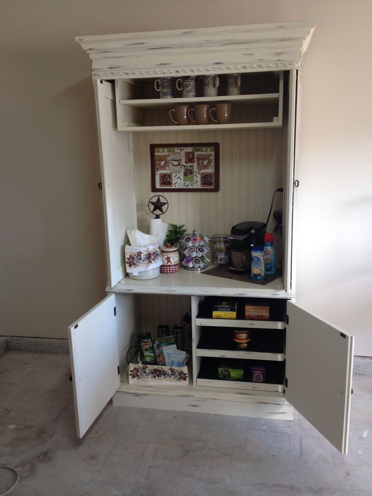TV Armoire That I Re Purposed To Be Used As A Coffee Bar Or Kitchen