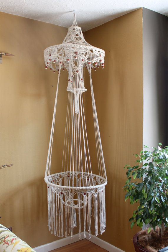 70s Hanging Macrame Planter Table By Kuhlstuff On Etsy