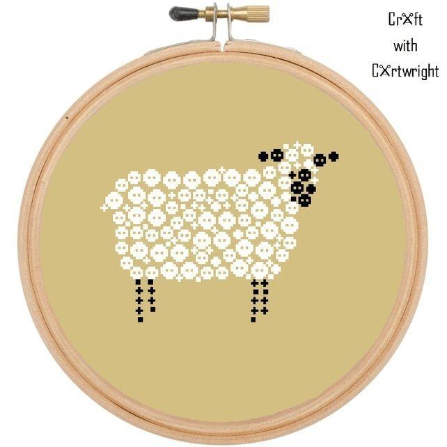 Button Art, cross stitch pattern, sheep, digital PDF pattern £3.60 #folksyfriday
