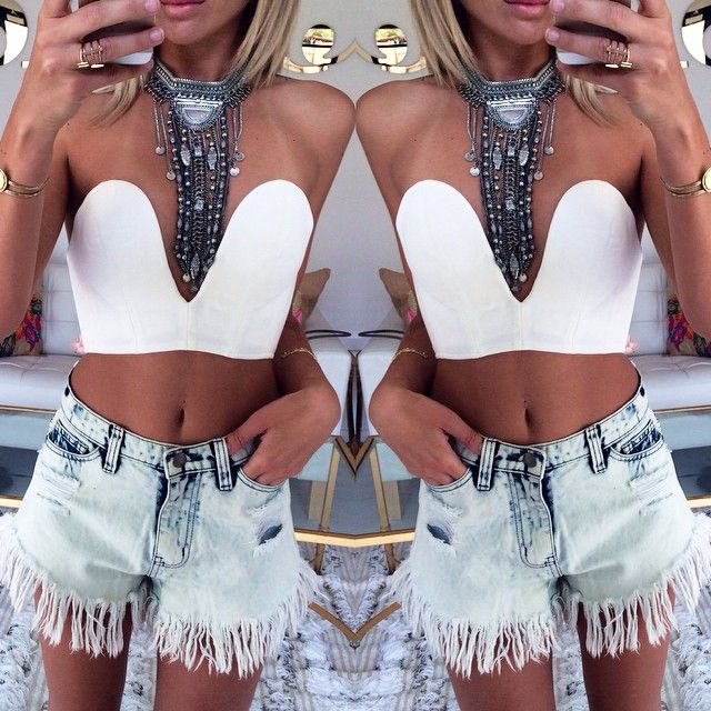 Styling the White Russian Bustier for the perfect festival look. Get it now at #SaboSkirt.com. #sabo skirt.