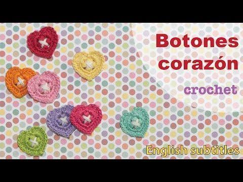 Mini tutorial #6: botones corazón tejidos a crochet! ENGLISH SUBTITLES: crochet heart buttons - YouTube ╭⊰✿Teresa Restegui http://www.pinterest.com/teretegui/✿⊱╮