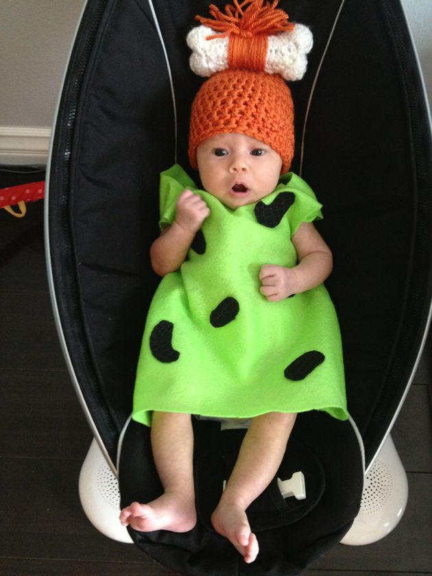 Pebbles Flintstone infant Halloween costume:) @Bethany Dunham How cute would this be for Rorie?? And Knox could be Bam Bam! You and Preston could make a pretty fabulous Fred and Wilma :)