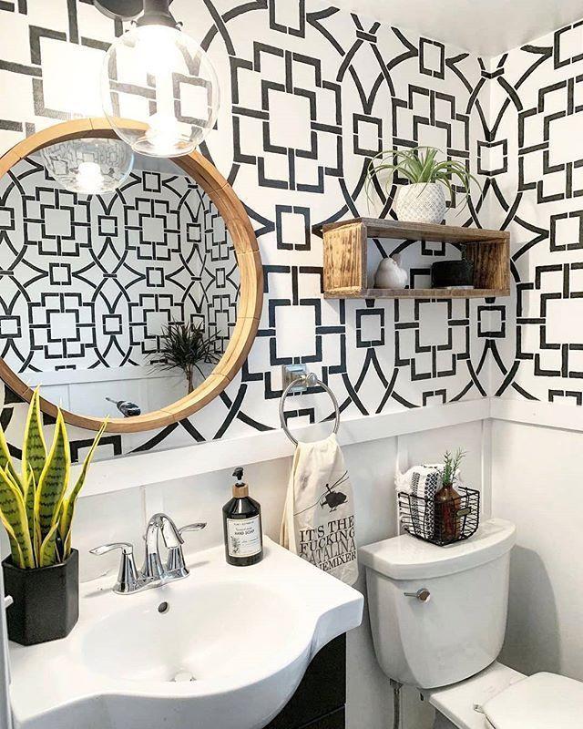 Diy Stenciled Feature Wall Ideas On A Budget For A Half Bathroom Using Easy Wall Stencil Patterns Half Bathroom Design Ideas Small Half Bathrooms Half Bathroom