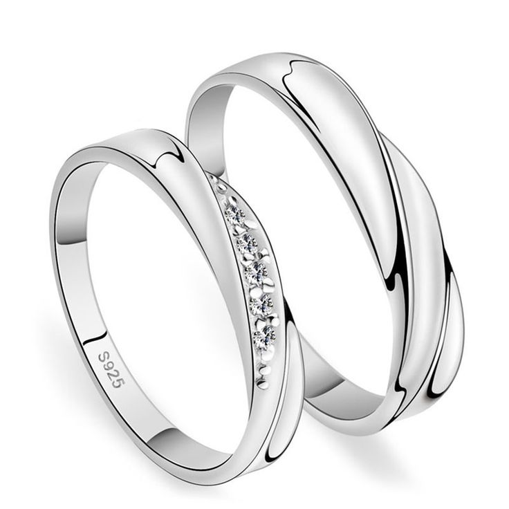 Lovely Fashion Silver Couple Ring for Women and Men Silver Wedding Engagement Jewelry
