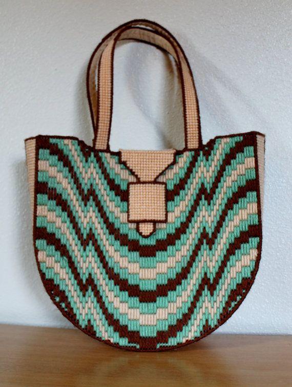 Vintage 60s Psychedelic Handbag | Woven Yarn | Trippy Purse | Mod | Club Kid |
