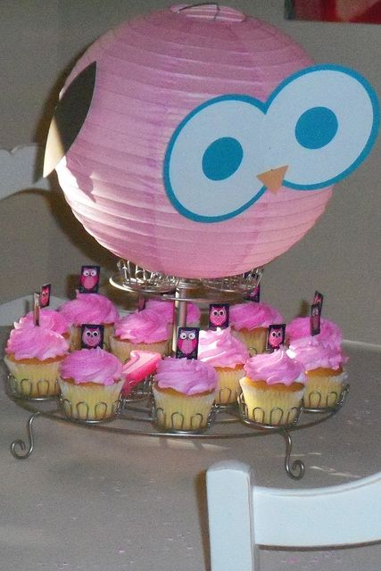 owl party - paper lantern owl and cupcakes