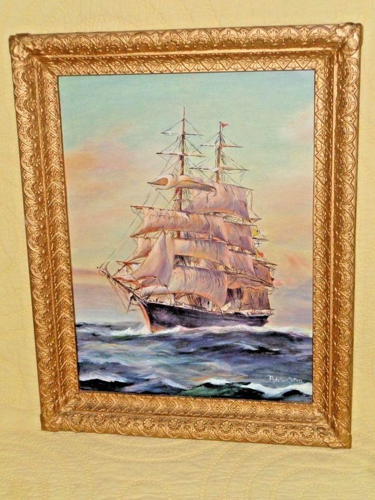 ANTIQUE PAINTING CLIPPER SHIP Adele Cotell OIL CANVAS SEA CAPTAIN PROVENANCE  #Americana