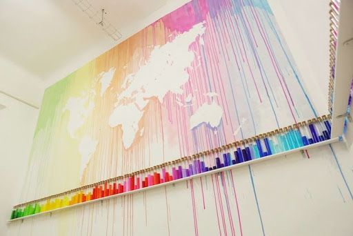 French Mademoiselle Maurice created a beautiful map of the world by dripping colorful paint, leaving the worlds seven continents in the negative. The art installation is part of her exhibition Colo?