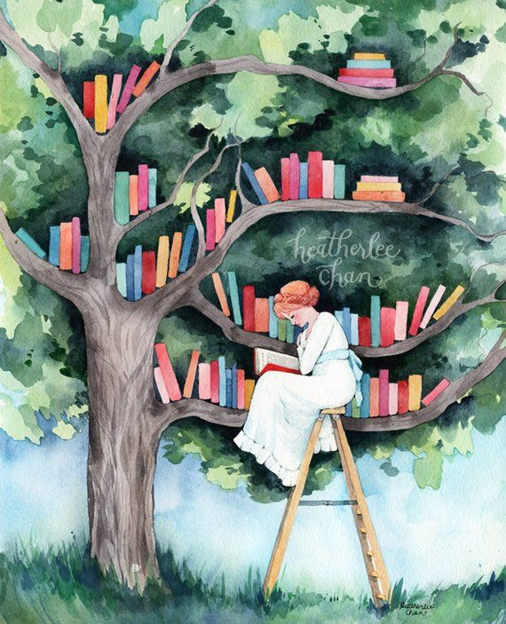The Reader and the Tree Library – Watercolor Art Print