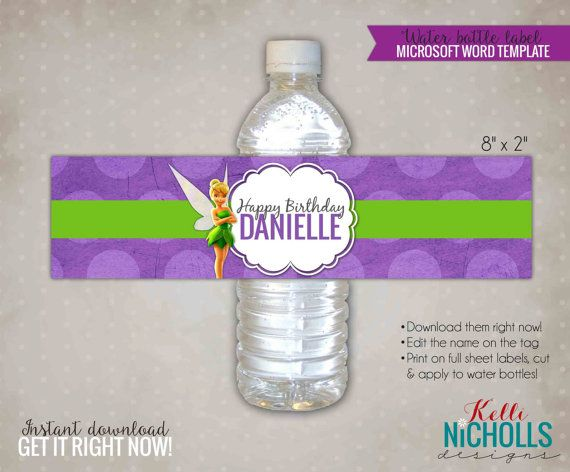 Tinkerbell birthday party water bottle label digital template perfect diy decorations for you princess or