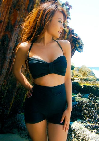 BIG SALE// black high waisted swimsuit xsxL by meshalo on Etsy - StyleSays