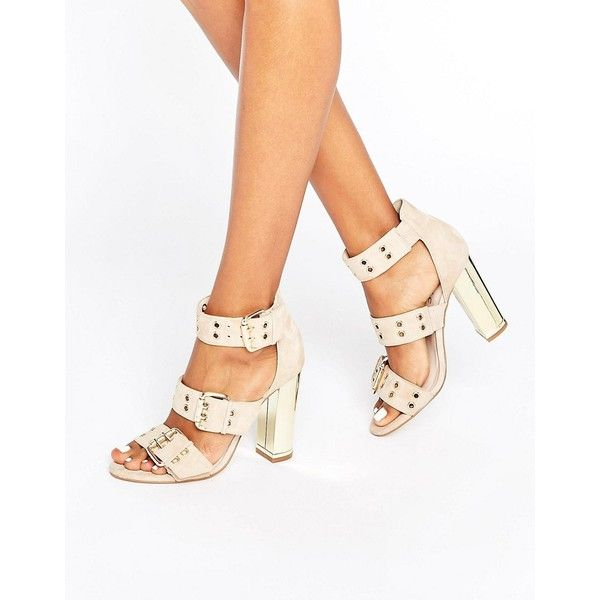 Office Shots Eyelet Strap Suede Block Heeled Sandals ($57) ❤ liked on Polyvore featuring shoes, sandals, beige, strappy high heel sandals, block-heel sandals, metallic sandals, strappy sandals and heeled sandals