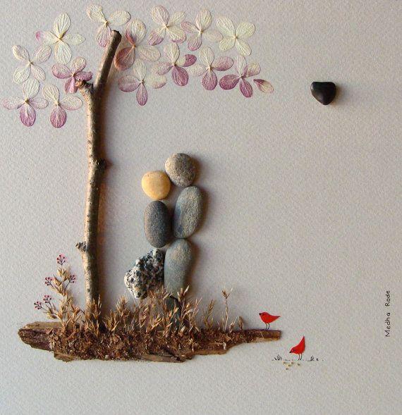 Pebble Art Wedding Gift : Wedding Gift Pebble Art by MedhaRodeStones Art, Gift Pebble, Wedding ...