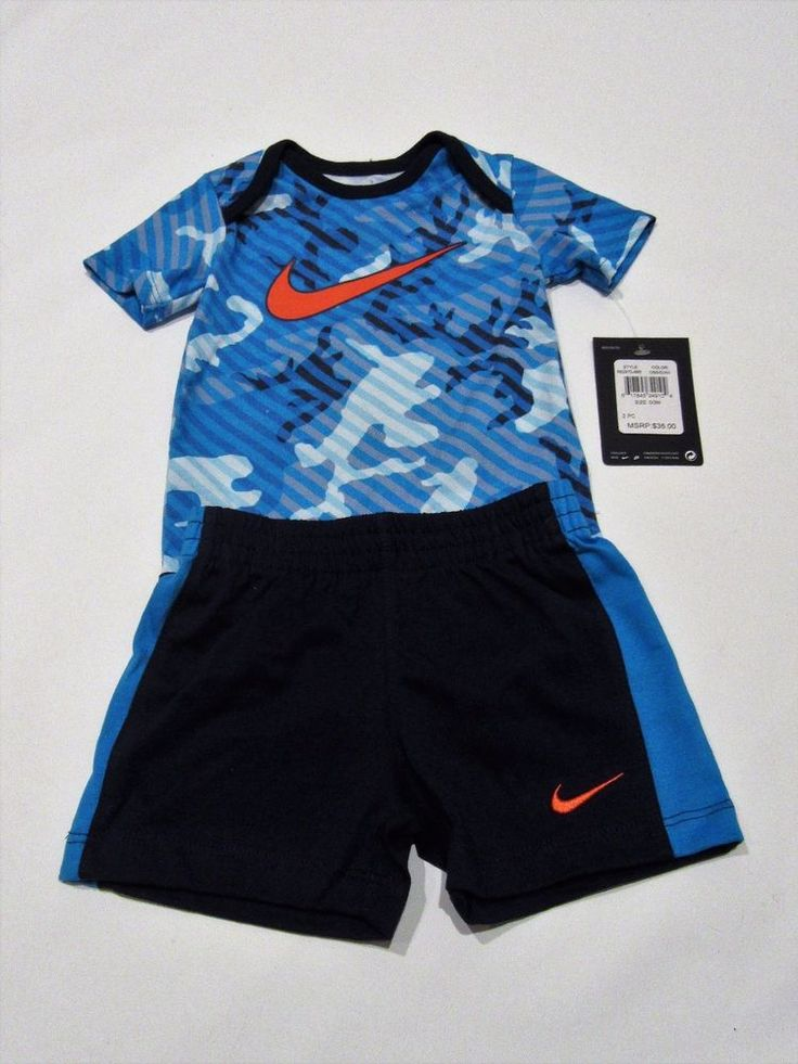 NEW Nike baby boy clothes 2 piece set 0-12 months bodysuit shorts Camouflage  | eBay