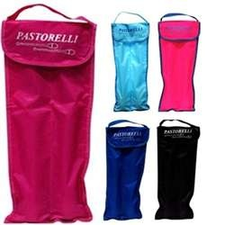Clubs Holder by Pastorelli:  Take tender loving care of your equipment with Pastorelli's functional rhythmic gymnastics equipment holders!  These handy club holders are composed of waterproof fabric, and there is plenty of room for a standard sized pair of rhythmic gymnastics clubs! The holder's fabric is dyed in several dazzling colors: Coney Island Blue, Dolce Gabbana Black, Mother of Rose, Nantucket Blue Mist, and Razzle Dazzle Pink! On sale for $34.