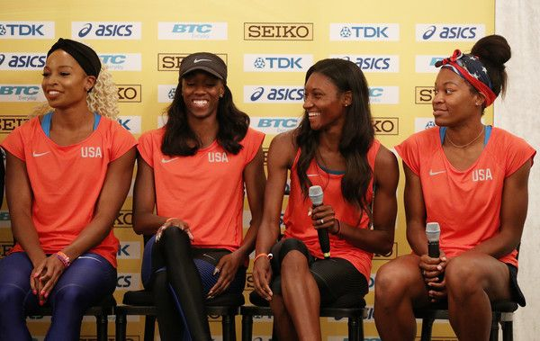 Quanera Hayes Photos Photos - BAAA Team USA Women's 4x400 athletes Natasha Hastings, Ashley Spencer, Phyllis Francis and Quanera Hayes take part in a press conference prior to the IAAF / BTC World Relays Bahamas 2017 in the Governor's Ballroom at the Hilton Nassau Hotel on April 21, 2017 in Nassau, Bahamas. - IAAF / BTC World Relays Bahamas 2017