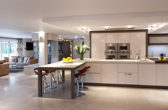 Mowlem - intro of darker wood round the cabinets - defines the floor and cabinets